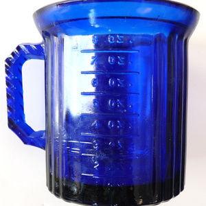 Vintage blue cobalt pressed glass measuring cup